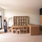 Kartonnen interieur voor modelwoning voor Bouwfonds